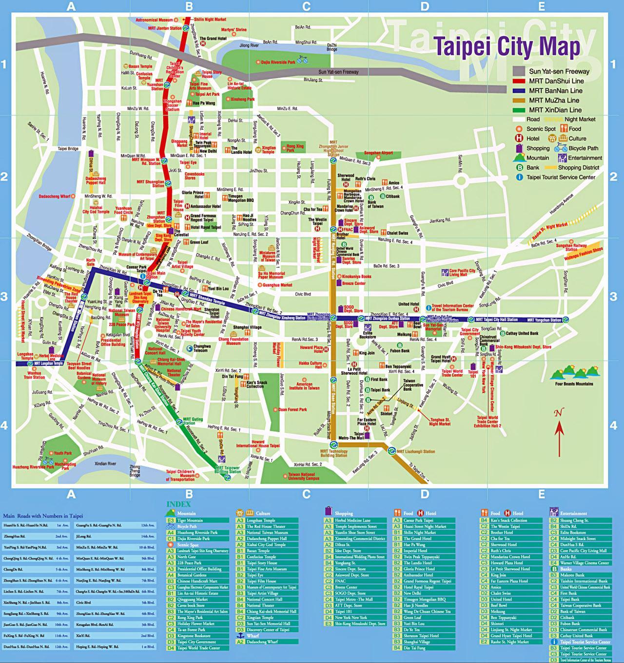 Taipei Turist Kort Taipei Turist Pletter Kort Taiwan